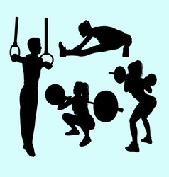 Gymnastic and ring sport silhouette vector