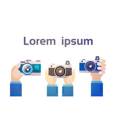 Hands group holding photo camera photography vector