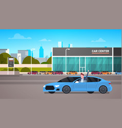 Happy owner driving new car over dealership center vector