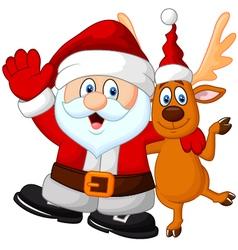 Happy Santa and deer vector image