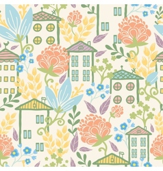 Houses among flowers seamless pattern background vector image