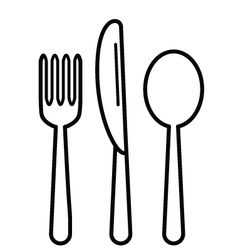 KnifeFork and Tablespoon Black vector image