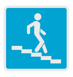 Man descending the stairway icon flat style vector