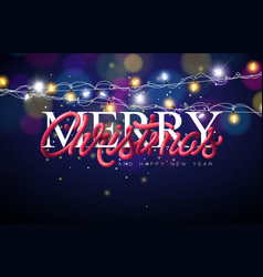 Merry christmas with intertwined tube vector