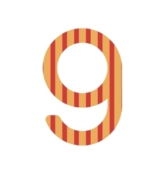 number nine design with vertical colorful striped vector image