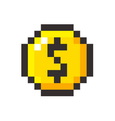 Pixel art golden coin dollar retro video game vector