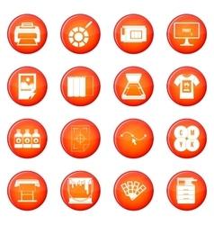 Printing icons set vector