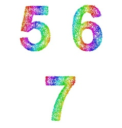 Rainbow sketch font set - numbers 5 6 7 vector