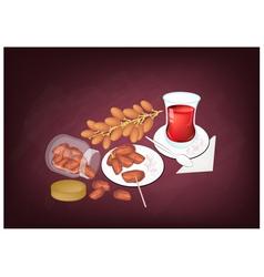Traditional black hot tea in azerbaijan vector