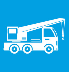 Truck mounted crane icon white vector