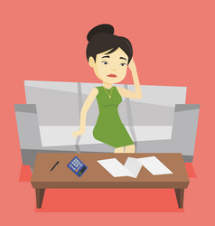 unhappy asian woman accounting home bills vector image vector image