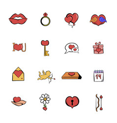valentines comics icons set cartoon vector image