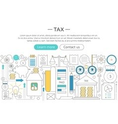 Elegant thin flat line tax taxes concept vector