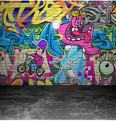 Graffiti wall urban street art painting vector