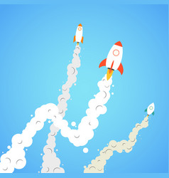 Rocket and the space infographic rocket launch vector