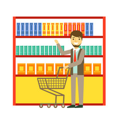 Man shopping at supermarket with shopping cart and vector