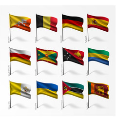 Collection of flags of world on flagpole vector
