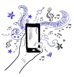 Hand touchscreen sketch music vector