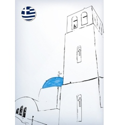 Iconic church with blue cupola vector image