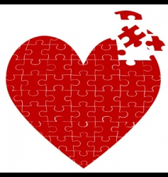 heart jigsaw puzzle vector image