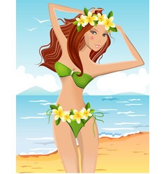 Young girl in bikini vector
