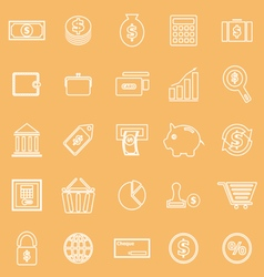 Money line icons on brown background vector
