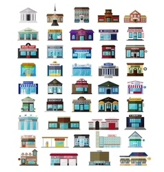 Set of the flat city buildingss and shops vector