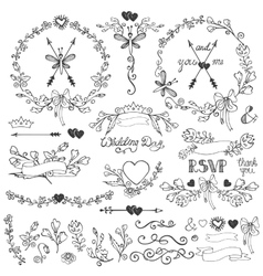 Doodles floral decor setborderselementswreath vector