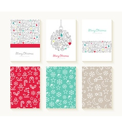 Merry christmas line icon patterns background card vector