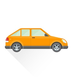 Flat orange hatchback car body style icon vector