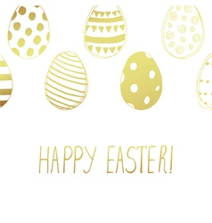 Easter card gold color vector
