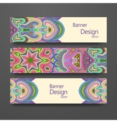 Colorful ornamental ethnic banner set vector