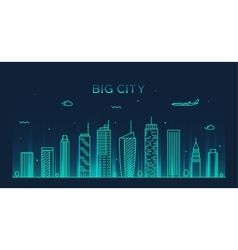 Big city skyline Trendy linear vector image