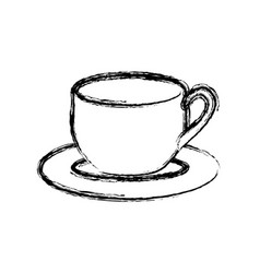 Blurred silhouette dish porcelain with cup vector