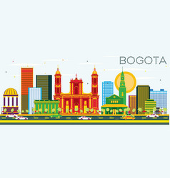 Bogota colombia skyline with color buildings and vector