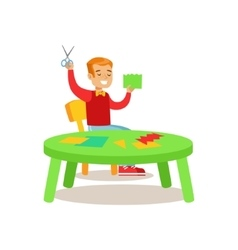 Boy doing applique creative child practicing arts vector