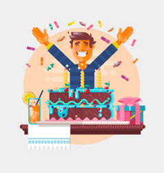 Boy with birthday cupcake children s birthday vector