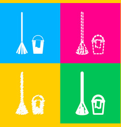 Broom and bucket sign four styles of icon on four vector