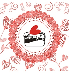 Cake romantic pattern background vector image vector image