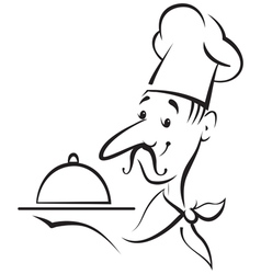 Chef cook contour vector