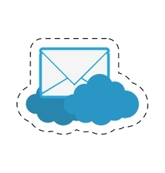 cloud email message envelope cut line vector image