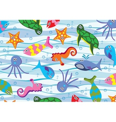 colorful sea animals vector image vector image