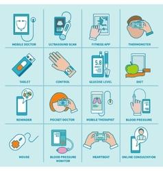 Digital health icons set flat line vector