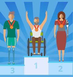 Disabled people on champion podium vector