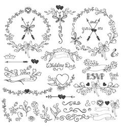 Doodles floral decor setborderselementswreath vector