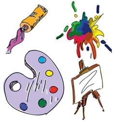 Drawn colored art stuff vector