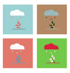 Flat icon design collection rain and bush vector