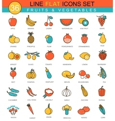 Fruits and vegetables flat line icon set vector image vector image