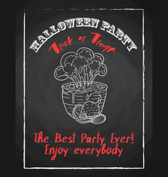 Halloween holiday chalk poster for party textured vector