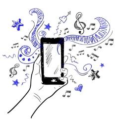 Hand touchscreen sketch music vector